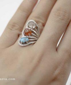 Bague argent femme multi-pierres | Turquoise, Agate, Dur Najaf