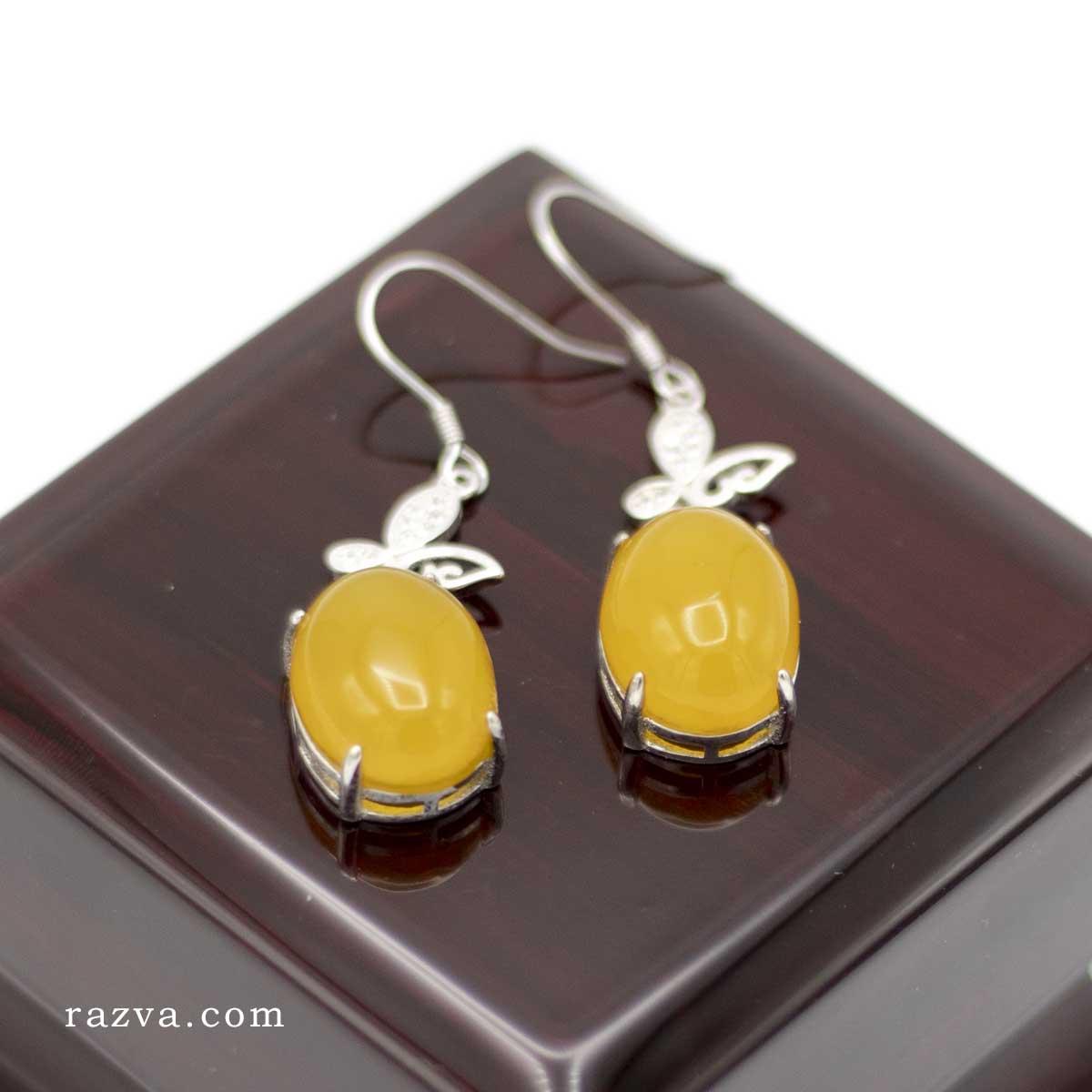 Boucles d'oreilles argent femme agate jaune pas cher