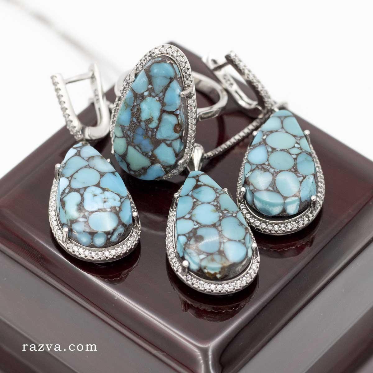 Parure bijoux femme argent 925 avec Turquoise naturelle