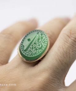 bague argent agate verte pour hommes