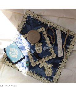 tapis de prière, turba, chapelet, amulette, Coran et parfum