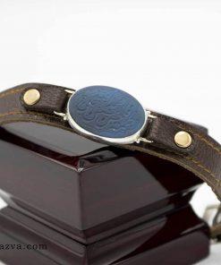 bracelet cuir avec agate bleu