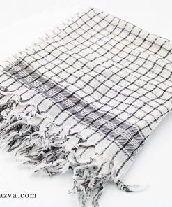 Foulard palestinien blanc et noir pour hommes et femmes Keffieh