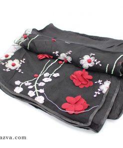 Écharpe femme en dentelle noir musulmane fleurs rouges